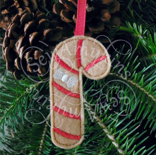 candy cane gingerbread ornament applique machine embroidery Christmas felt design