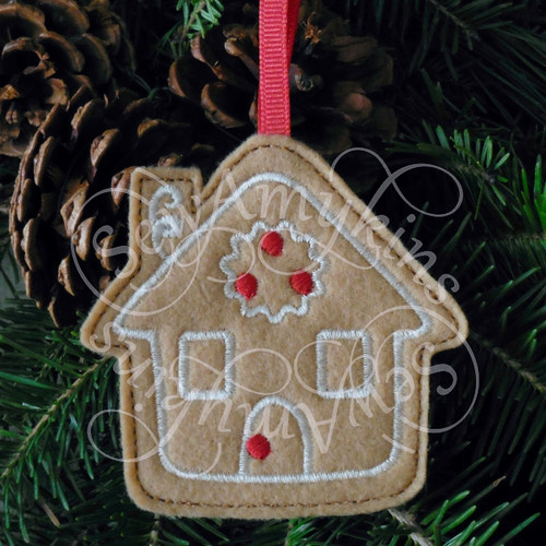 house gingerbread ornament applique machine embroidery Christmas felt design