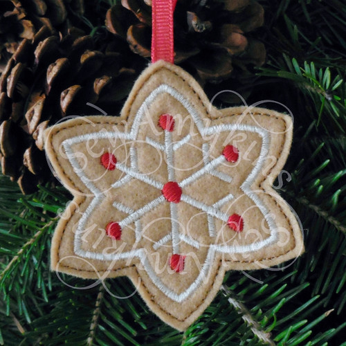 snow snowflake gingerbread ornament applique machine embroidery Christmas felt design