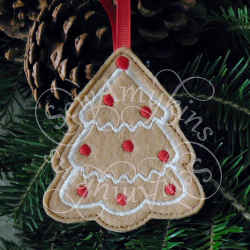 tree gingerbread ornament applique machine embroidery Christmas felt design