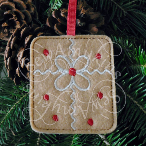 present gift package gingerbread ornament applique machine embroidery Christmas felt design