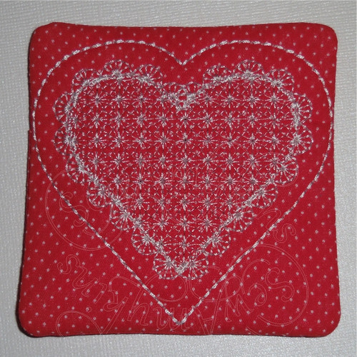 heart ith in the hoop coaster mug rug machine embroidery design valentine lace