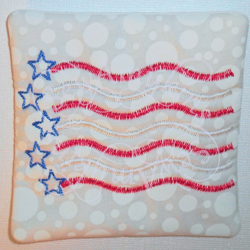 American flag primitive ith in the hoop coaster mug rug machine embroidery design.jpg