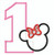 Minnie Mouse applique Number 1