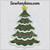 Christmas Tree applique embroidery design 2 sizes Scallop Edges snow edge
