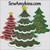 Christmas tree applique scallop edges winter snow star embroidery design
