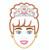 Doll face applique Crown princess