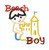 A smaller size of Beach Boy wearing shorts applique making a sand castle.