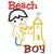 The outlines of Beach Boy wearing shorts applique making a sand castle.