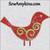 Christmas bird swirl embroidery design