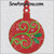 Christmas ornament holly swirl round machine embroidery bulb