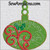 Christmas ornament holly swirl oval machine embroidery bulb