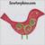applique bird Christmas ornament swirl machine embroidery bulb