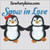 penguin pair girl bow holding hands applique embroidery design snow in love