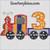birthday train 3rd third applique embroidery design 3 engine boy