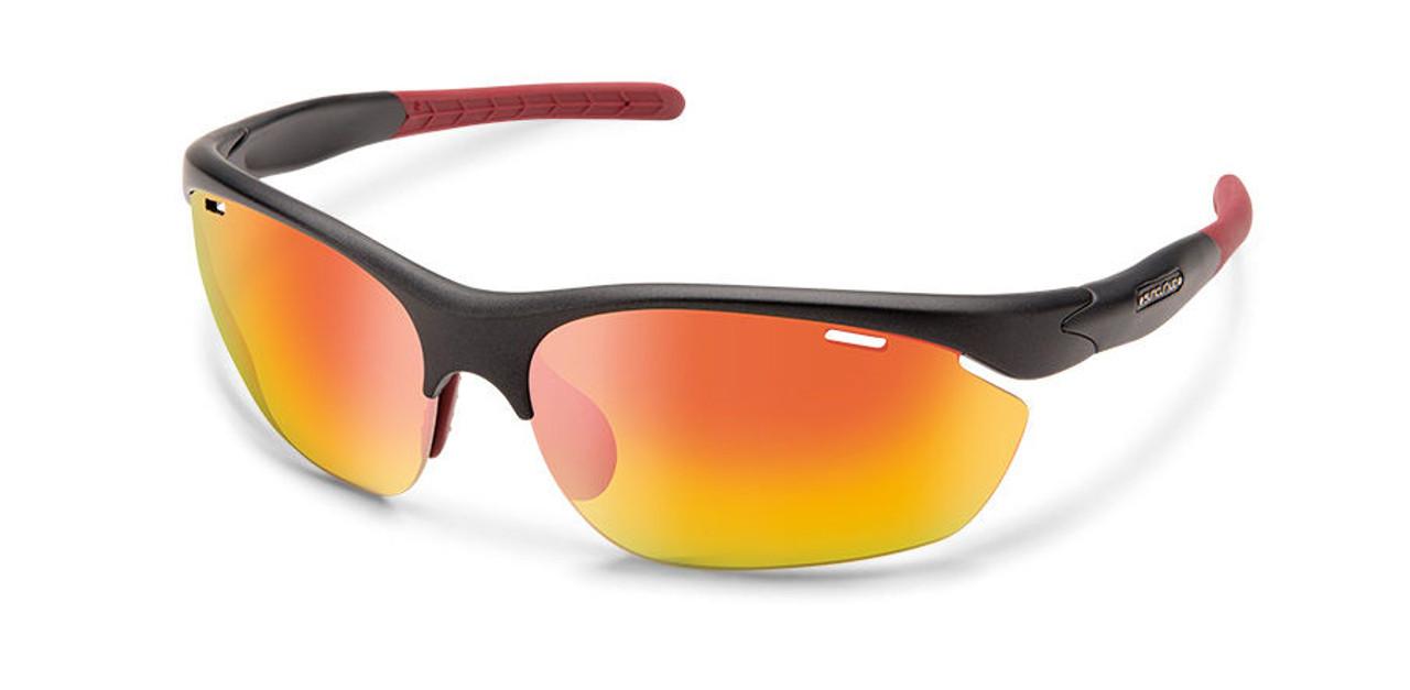 SunCloud Portal  Matte Graphite Polarized Red Sunglasses