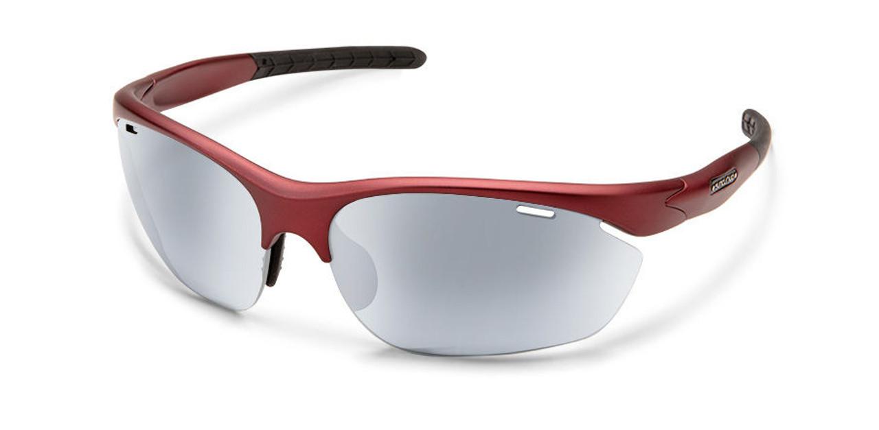 SunCloud Portal Matte Red Polarized Silver Mirror Sunglasses