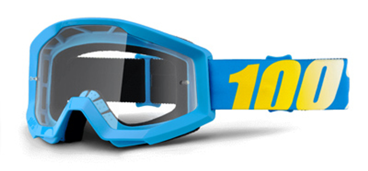 Ride 100% Strata JR Cyan Blue Goggle Clear Lens