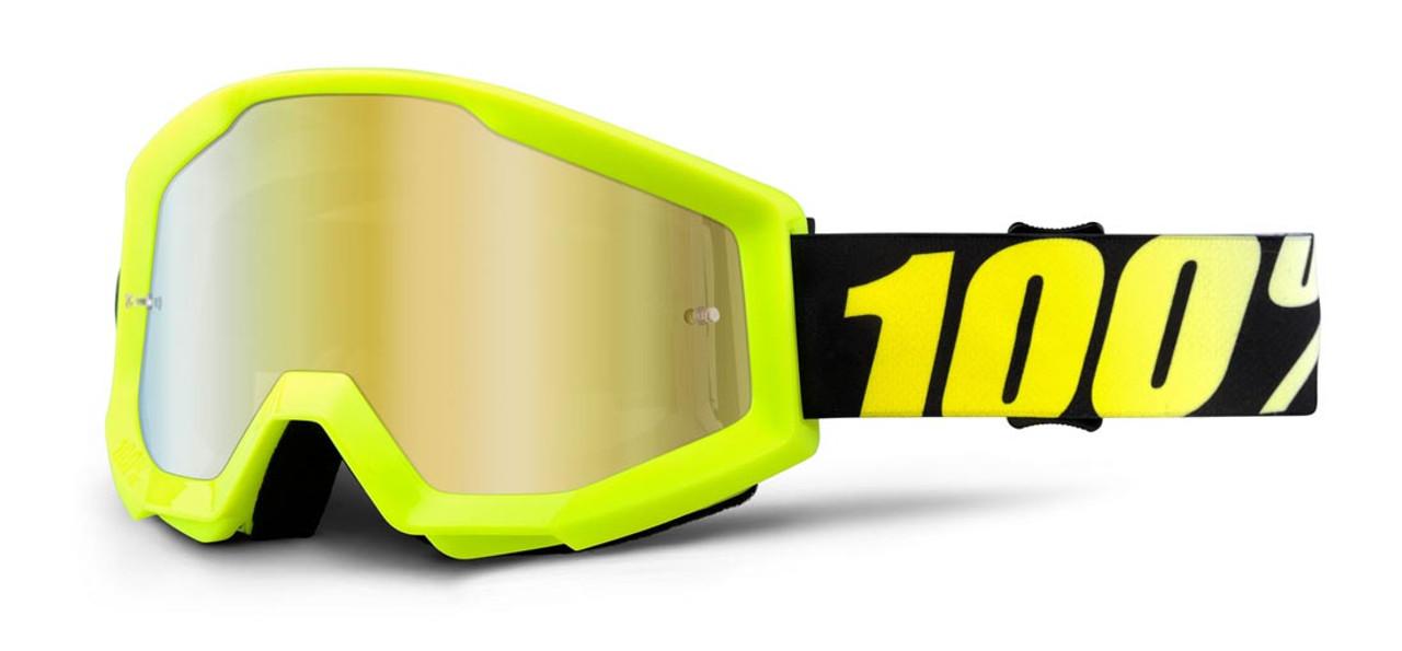 Ride 100% Strata Moto Neon Yellow Goggle Mirror Gold Lens