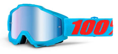 Ride 100% Accuri Moto Acidulous Cyan Goggle Blue Mirror Lens