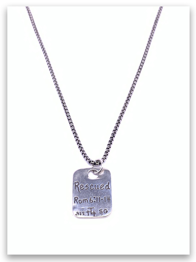 Rescued from sin Necklace w/Medium Box Chain