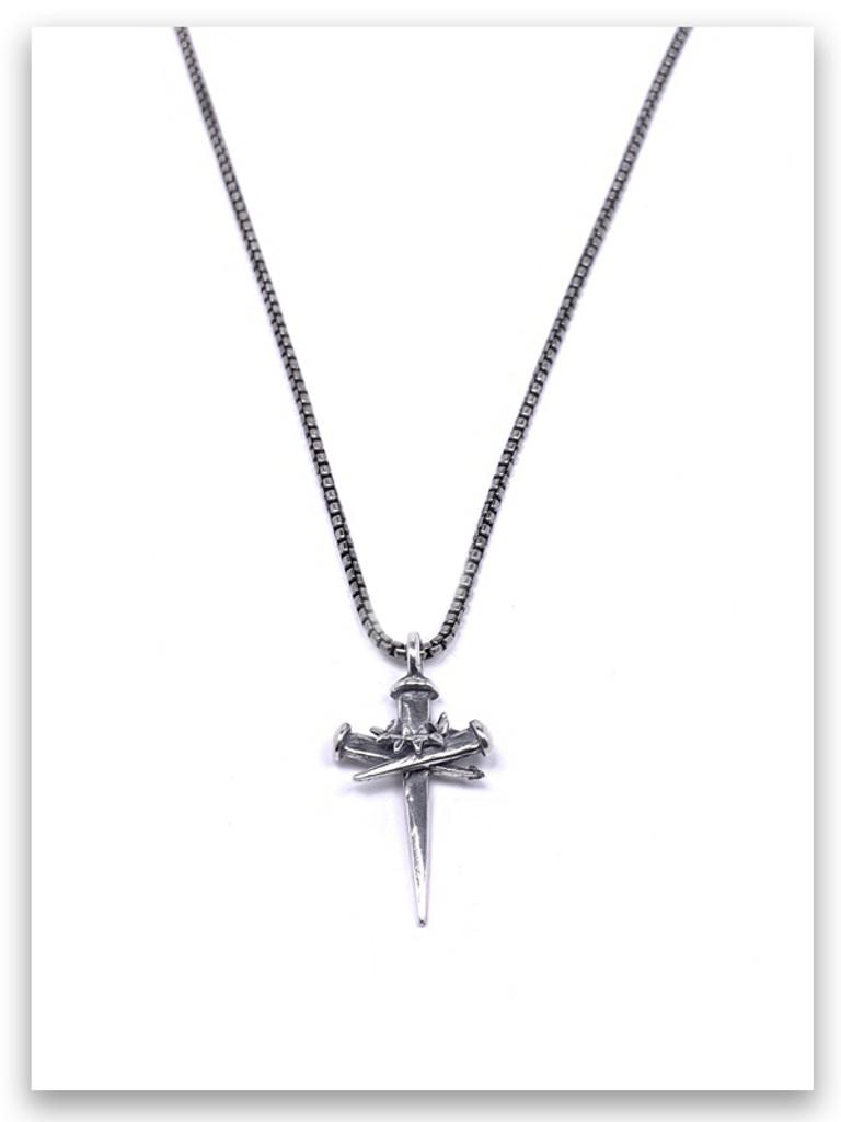 Sacrifice Cross Necklace for Men w/Medium Box Chain