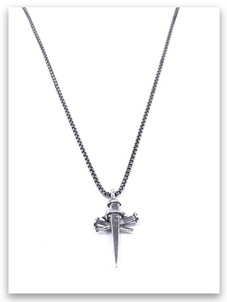 Sacrifice Cross Necklace for Men w/Medium Box Chain (back view)