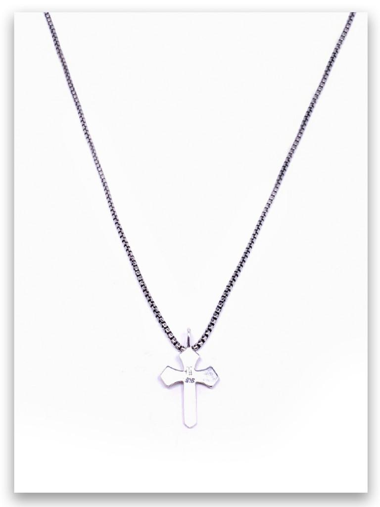 Sword of the Spirit w/med box chain Cross for Guys (back view)