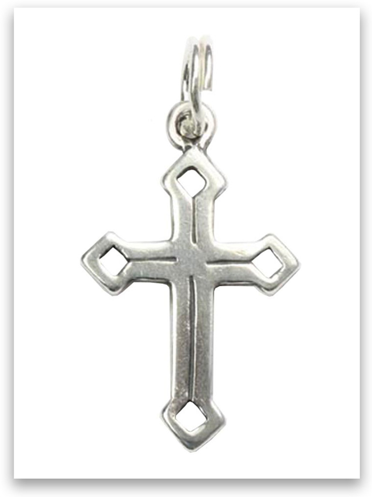 Sterling Silver Diamonds Cross Charm
