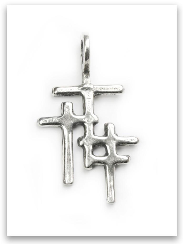 Trio Cross Sterling Silver Traditional Children Pendant