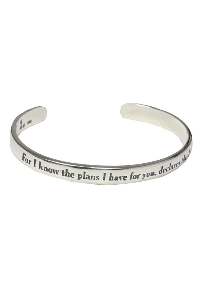 I know the plans I have for you. Jeremiah 29:11 Scripture Cuff Bracelet