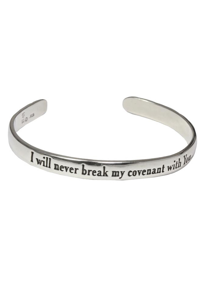 I will never break my covenant with You. Judges 2:1 Sterling silver scripture cuff bracelet.
