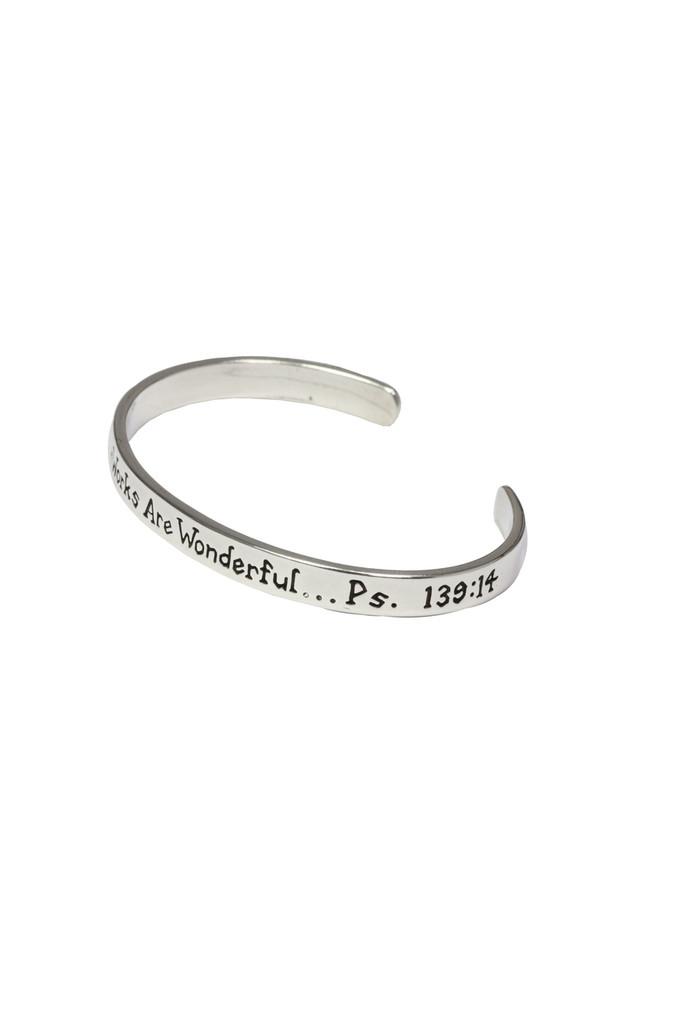 I will praise You sterling silver cuff bracelet. Psalm 139:14