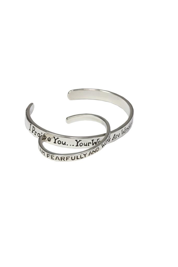 Mom-I will praise YOU sterling silver cuff bracelet. Psalm 139:14