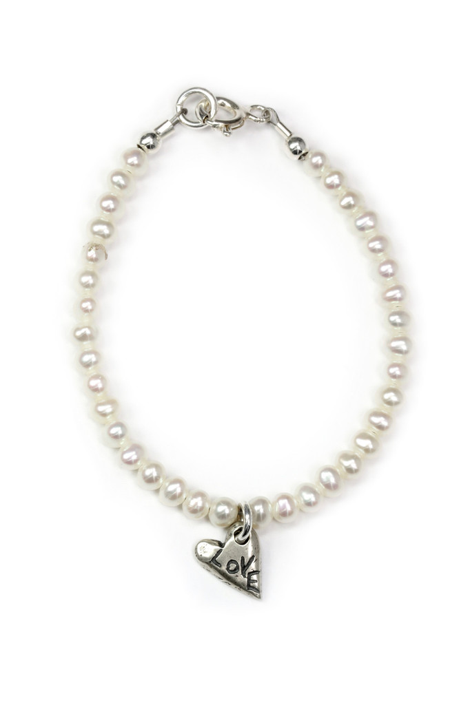 The Greatest of these is Love Pearl & Sterling Silver Bracelet, 1 Corinthians  13:13