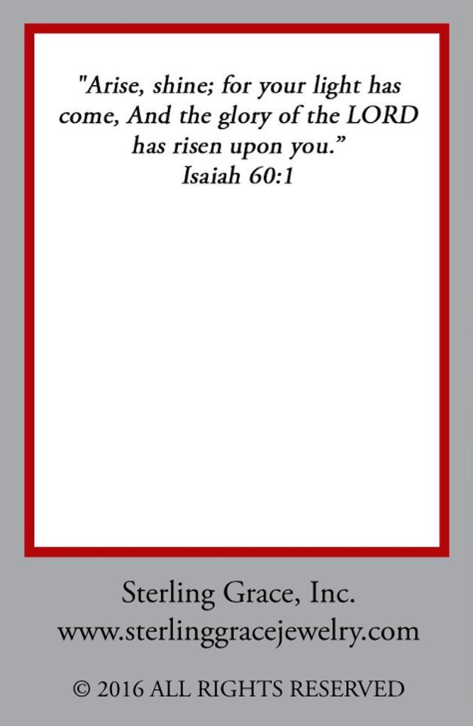 Shine Charm Message Card (Back)