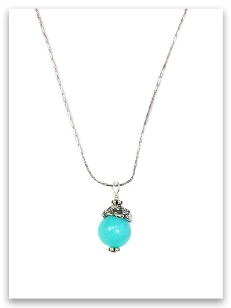Courage and Truth Amazonite Fleur-De-Lis Necklace