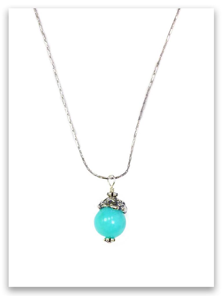 Courage and Truth Amazonite Fleur-De-Lis Necklace