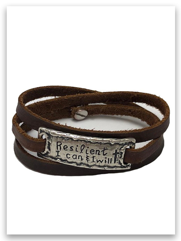 Resilient Sterling Silver Genuine Leather Wrap Bracelet