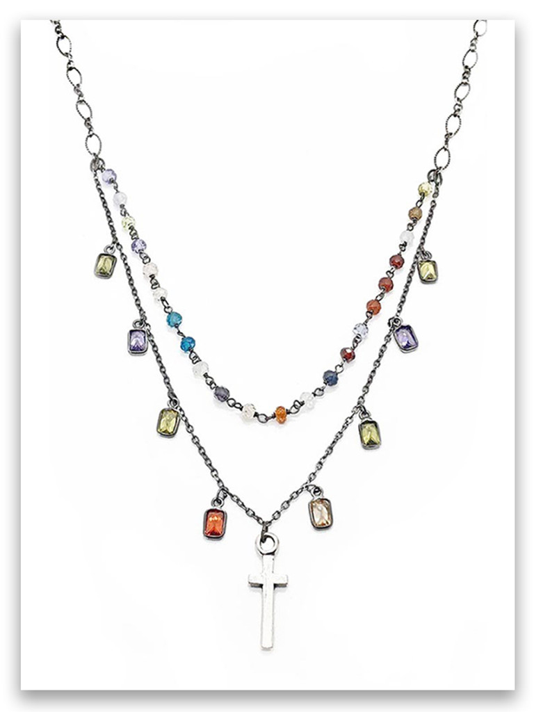 East-West Multi Stone Necklace