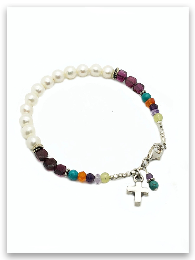Bold Faith Pearl, Garnet and Multi Stone Bracelet