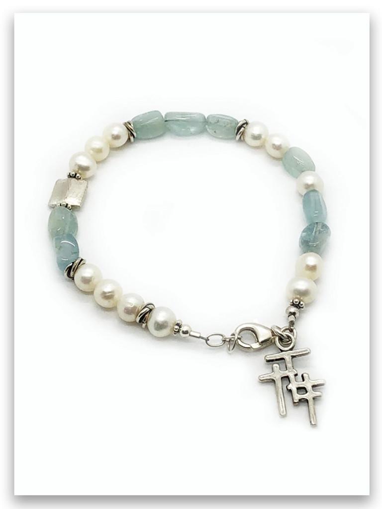 Aquamarine and Pearl Trio Cross Bracelet