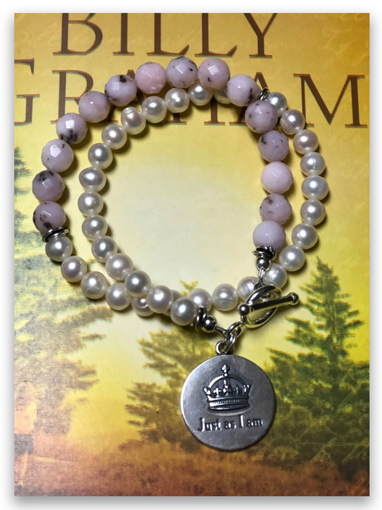 Just As I Am Pearl and Pink Opal Bracelet