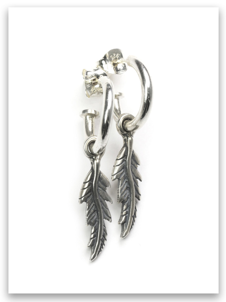 Fly-Protection Sterling Silver Feather Earrings