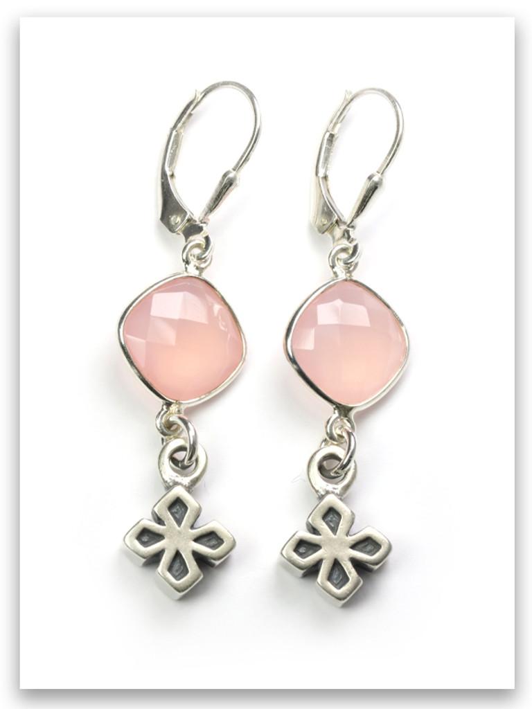 My Strength Cross Earrings Semi-Precious Stone
