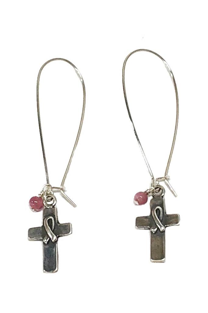 Pink Warrior Cross of Hope Earrings