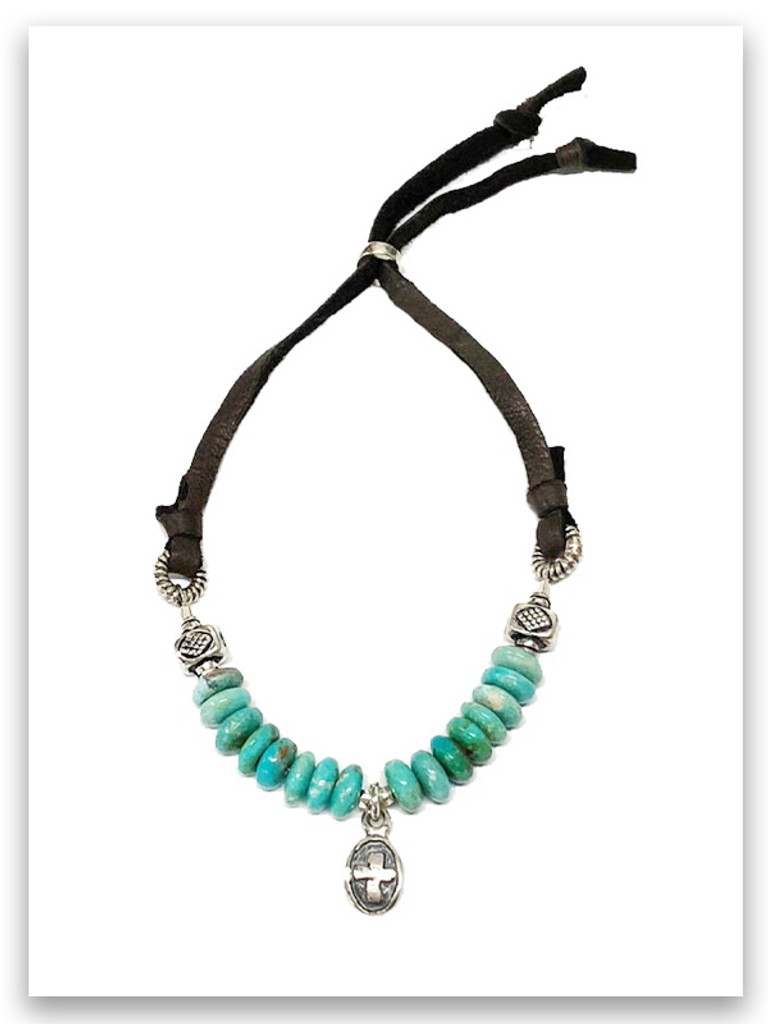 Kindness Turquoise and Deer Leather Bracelet