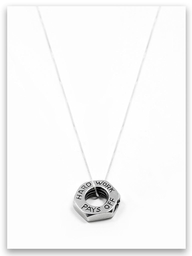 Hard Work Sterling Silver Pendant Necklace