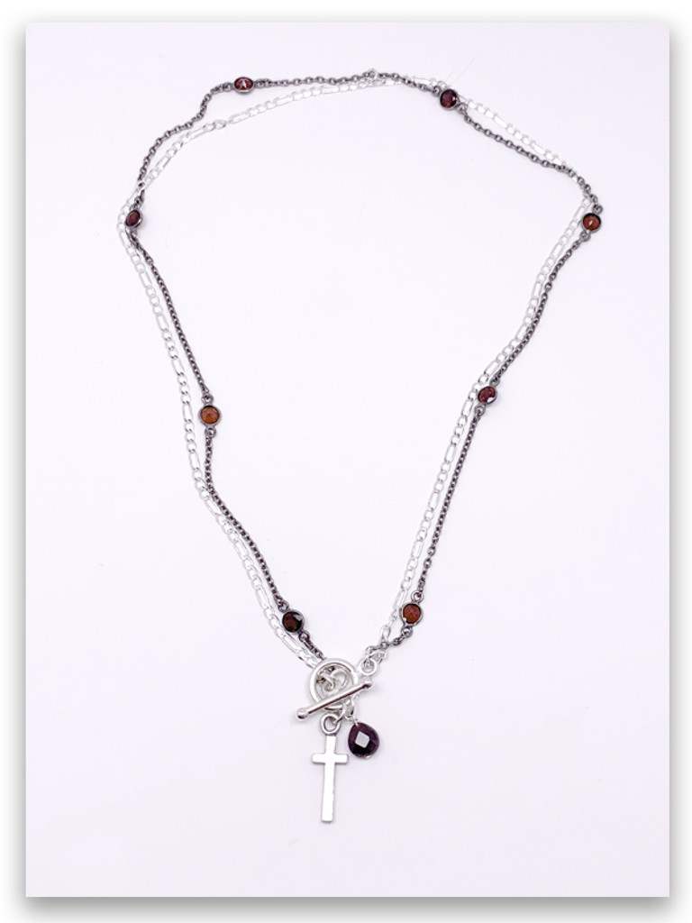 East West Garnet Chain Necklace
