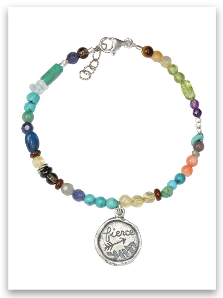 Fierce Sterling Charm Semi Precious Multi-Stone Bracelet